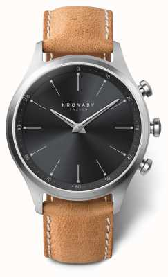 Kronaby 41mm SEKEL Black Dial Brown Leather Strap A1000-3123