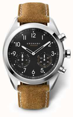 Kronaby 43mm APEX Black Dial Brown Suede Strap A1000-3112