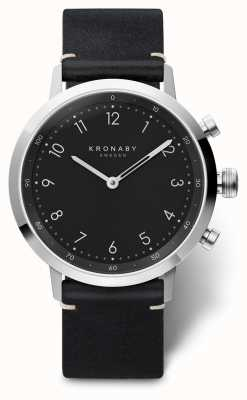 Kronaby 41mm NORD Black Leather Strap Stainless Steel Case A1000-3126