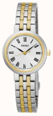 Seiko White Dial Roman Numerals Two Tone Bracelet And Case SRZ462P1