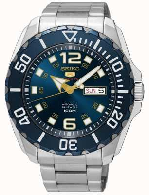 Seiko 5 Men's Sport Date & Day Display Blue Dial Stainless Steel SRPB37K1