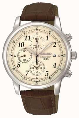Seiko Men's Cream Dial Chronograph Date Window Leather Strap SNDC31P1