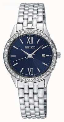 Seiko Blue Dial Crystal Set Bezel  Date Display Stainless Steel SUR691P1