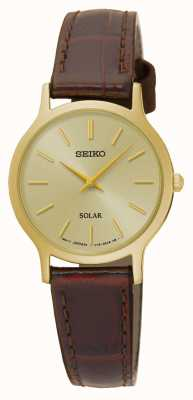 Seiko Solar Gold Dial & Case Brown Leather Strap SUP302P1