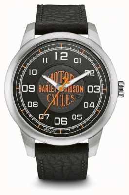 Harley Davidson Orange Logo Black Dial Stainless Steel Case Black Leather 76A155