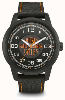 Harley Davidson Logo Print Black Dial IP Plated Case Black Leather Strap 78A116
