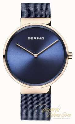 Bering Classic Blue Dial Rose Gold Case Blue IP Plated Mesh Strap 14539-367