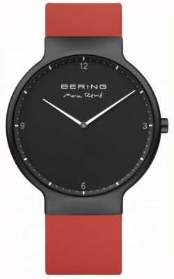 Bering Max René  Black IP Plated Case Red Silicone Strap 15540-523