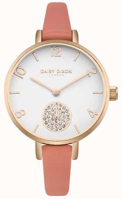 Daisy Dixon Women's Alice Crystal Set Subdial Pink Leather Strap DD0750RG