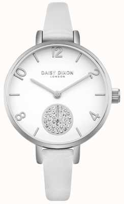 Daisy Dixon Women's Alice Crystal Set Subdial White Leather Strap DD075WS