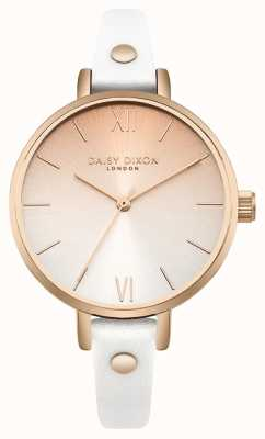 Daisy Dixon Women's Hattie Rose Gold Gradient Dial White Leather Strap DD062WRG