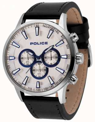 Police Mens Momentum Chronograph Watch Black Leather Strap 15000JS/04