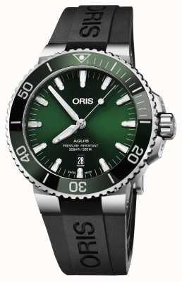 Oris Mens Aquis Date Green Dial Black Rubber Strap 01 733 7730 4157-07 4 24 64EB