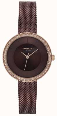 Kenneth Cole Womens Diamond Set Brown Dial Brown Mesh Watch KC50198003