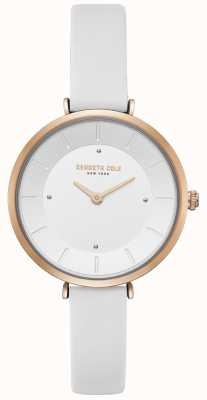 Kenneth Cole Womens Diamond Set Rose Gold Case White Leather Watch KC50306004