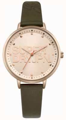 Superdry Womens Ascot Luxe Green Leather Strap Rose Gold Dial SYL157NRG