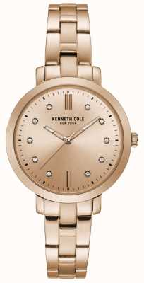 Kenneth Cole Womens Diamond Set Rose Gold Case Rose Gold Bracelet Watch KC15173005