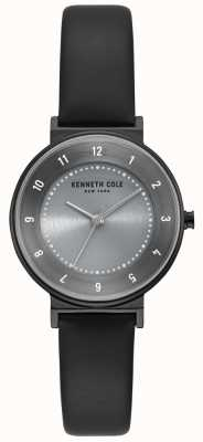 Kenneth Cole Womens Classic Grey Dial Black Leather Strap Watch KC50075001