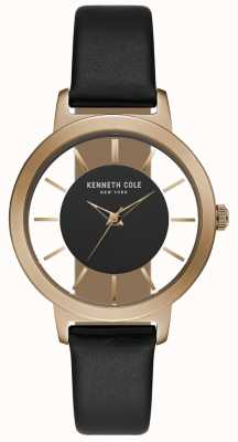 Kenneth Cole Womens Rose Gold Case With Black Leather Strap KC15172004