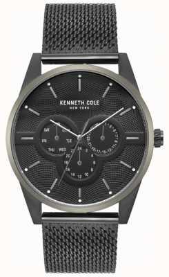 Kenneth Cole Mens Multi Dial Black Mesh Bracelet Watch KC15205005