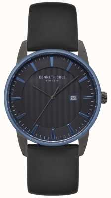 Kenneth Cole Mens Dress Black Dial Black Leather Watch KC15204004