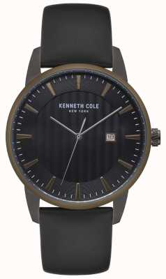 Kenneth Cole Mens Stainless Steel Case Blue Bezel Black Leather Watch KC15204005