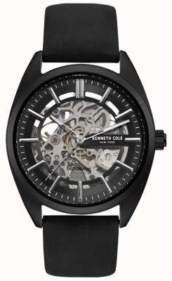 Kenneth Cole Mens Skeleton Dial Black Leather Strap Watch KC50064001