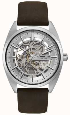 Kenneth Cole Mens Skeleton Dial Brown Leather Strap Watch KC50064002