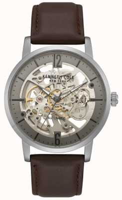 Kenneth Cole Mens Skeleton Dial Brown Leather Strap Watch KC50054001