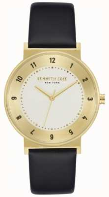 Kenneth Cole Black Leather Watch With Gold-Tone Case KC50074002