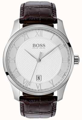 Hugo Boss Mens Master Silver Dial Brown Leather Watch 1513586