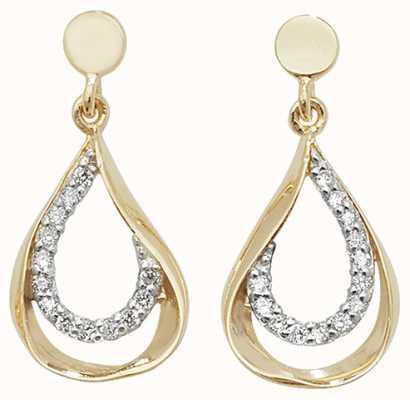 Treasure House 9k Yellow Gold Cubic Zirconia Drop Earrings ES455