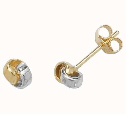Treasure House 9k White and Yellow Gold Knot Stud Earrings ES356