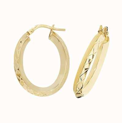 Treasure House 9k Yellow Gold Oval Hoop Earrings ER1018-V3