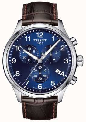 Tissot Mens T-sport XL Chronograph Blue Dial Brown Leather Strap T1166171604700