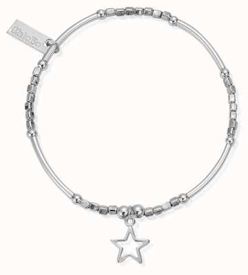 ChloBo Sterling Silver Mini Cube Small Open Star Bracelet SBMNC097