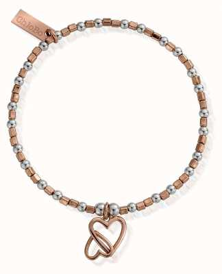 ChloBo Rose And Silver Interlocking Love Heart Bracelet MBCFB573
