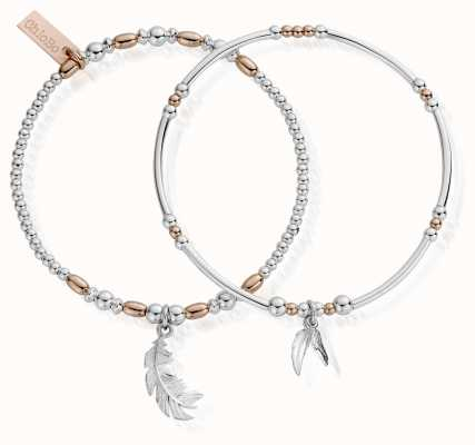 ChloBo Rose And Silver Strength And Courage Set Of 2 Bracelets MBSET596584