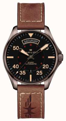 Hamilton Khaki Pilot Day Date Auto Black Dial Brown Leather H64605531