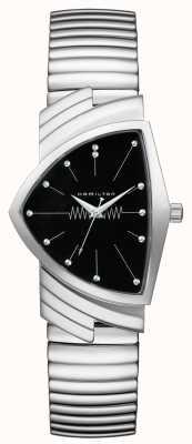 Hamilton Ventura Flex Quartz Black Dial Stainless Steel H24411232