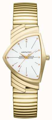 Hamilton Ventura Flex Quartz White Dial Gold Plated Stainless Steel H24301111