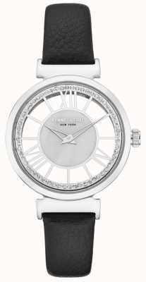 Kenneth Cole Ladies Stainless Steel Case On A Black Leather Strap KC50189002