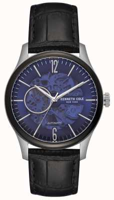 Kenneth Cole Mens Stainless Steel Case Blue Skeleton Dial Black Leather KC50224001