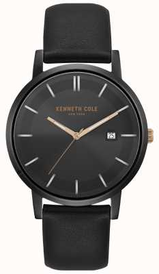 Kenneth Cole Mens Case And Dial Date Dial Black Leather Strap KC15202004
