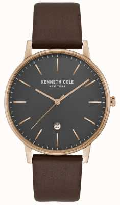 Kenneth Cole Mens Rose Gold Case Grey Dial Brown Leather KC50009002