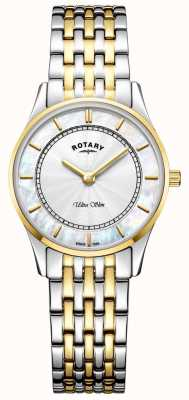 Rotary Womens Ultra Slim Two Tone Bracelet Mother Of Peal Dial LB08301/41