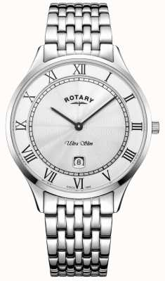 Rotary Mens Ultra Slim White Dial Stainless Steel Watch GB08300/01