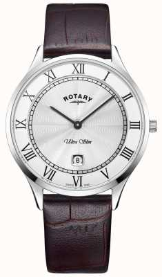 Rotary Mens Ultra Slim Brown Leather Strap Watch GS08300/01