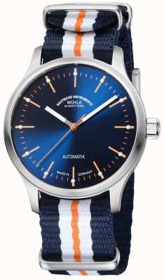 Muhle Glashutte Panova Bleu Limted Edition Synthetic Blue Orange Strap M1-40-72-NB
