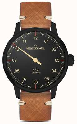 MeisterSinger Single Hand Black Line Light Brown Leather Strap AM902BL